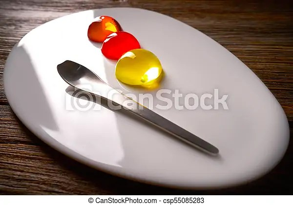 Molecular cuisine concept spheritions jelly texture. Molecular cuisine concept spheritions colorful in moodern oval plate