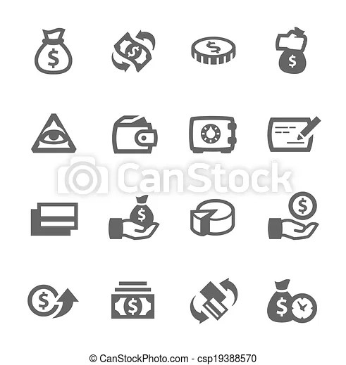 Money icons. Simple set of money related vector icons for
