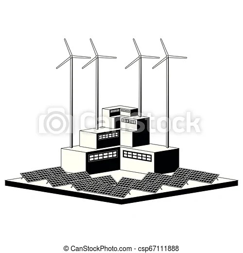 Monochromatic wind and solar power plant. vector