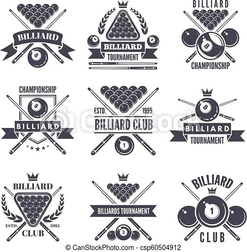 Monochrome labels or logos for billiard club. vector