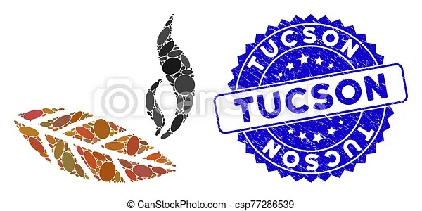 Mosaic smoking tobacco leaf icon with scratched tucson seal. Mosaic smoking tobacco leaf icon and rubber stamp seal with