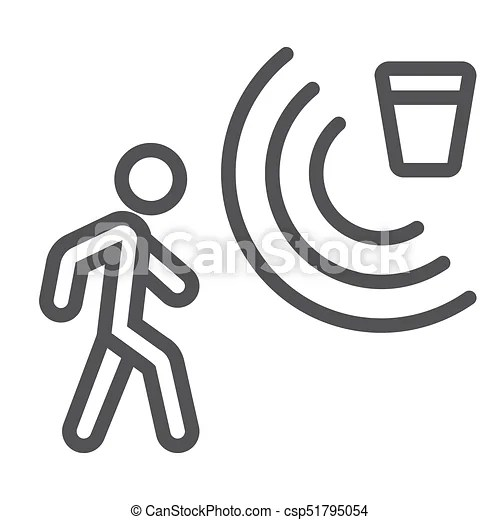Motion detector line icon, security and guard, vector