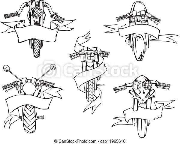 Motorcycle templates with ribbons. Motorcycle templates