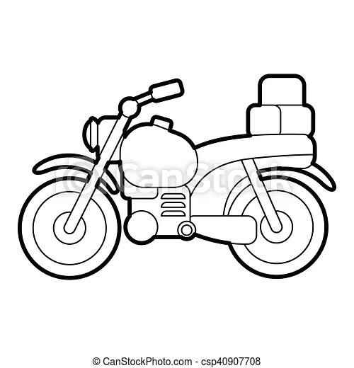 Motorcycle with boxes icon, outline style. Motorcycle with