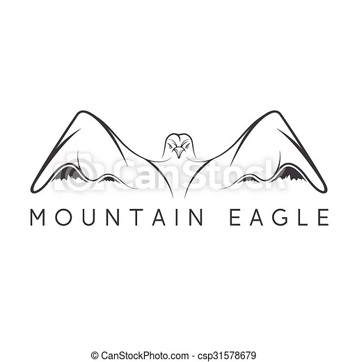 Mountain eagle vector design template.