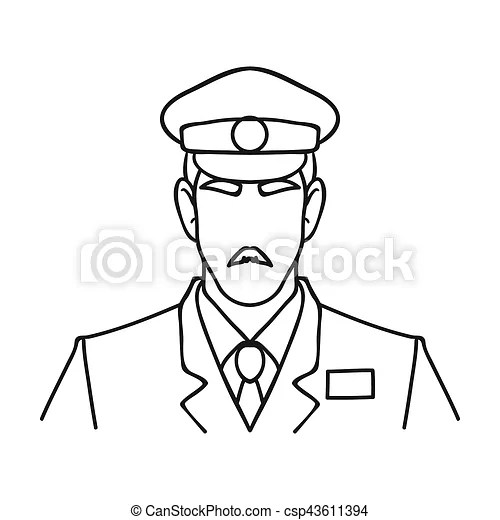 Museum security guard icon in outline style isolated on