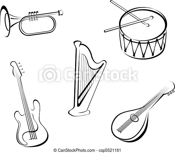 Music instruments. Set of string musical instruments for