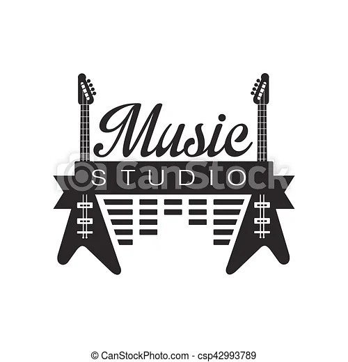 Music record studio black and white logo template with