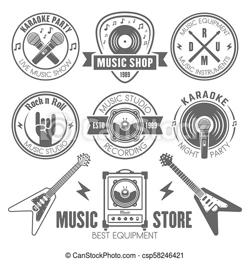 Music shop, recording studio, karaoke club labels. Music