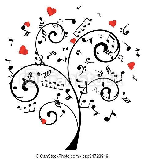 Music tree with hearts and notes. Tree with notes and hearts.