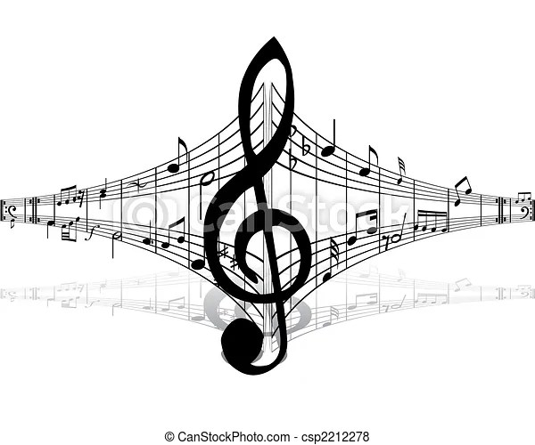 Musical staff theme. Musical notes staff theme for use in