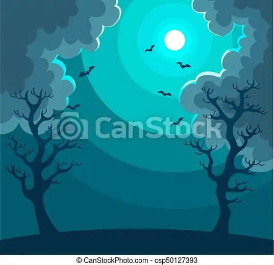 mysterious night landscape with