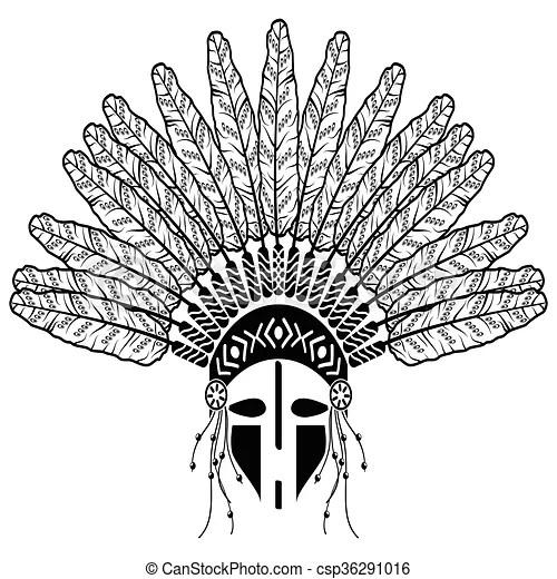 Native american warrior. Aztec, ethnic style headdress