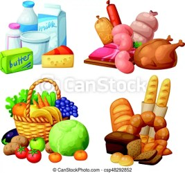 clipart food supermarket items sets grocery vector illustration cartoon natural meat dairy clip drawing fruits vegetables chicken drawings sausages bakery
