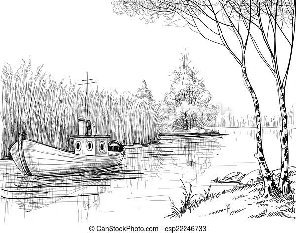 Nature sketch, boat on river or delta.