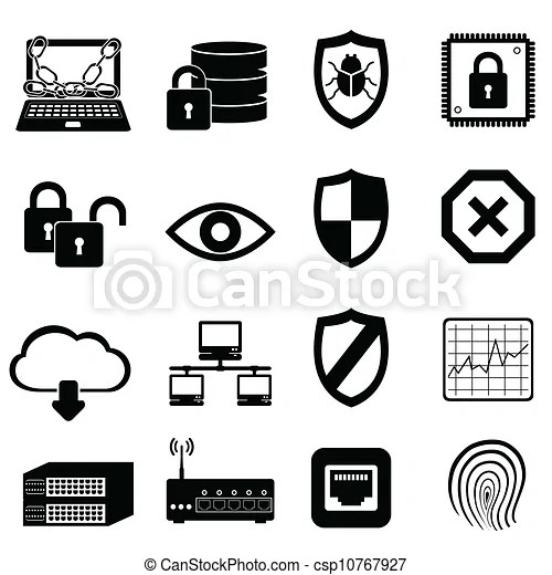 Network and computer security icon set.