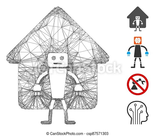 Network home robot vector mesh. Vector wire frame home