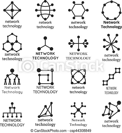 Network technology symbols. data molecule icons. set of