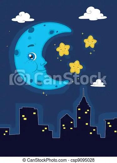 Night Scene Illustration Depicting A Peaceful Night