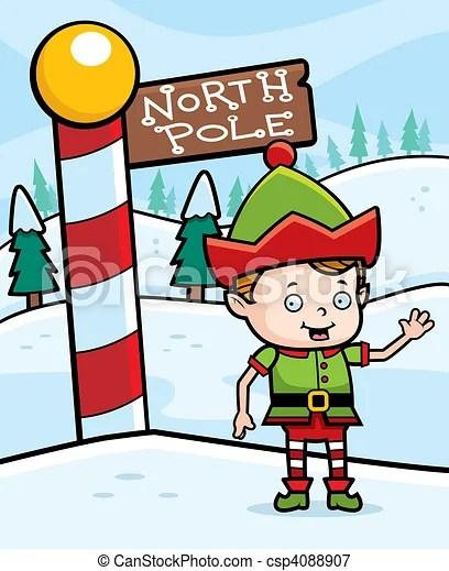 North pole elf. A happy cartoon christmas elf in the north pole.