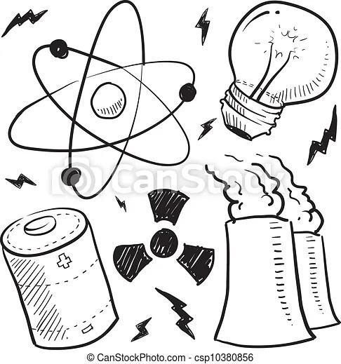 Nuclear power objects sketch. Doodle style nuclear energy