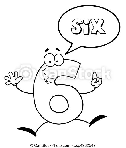 Number six. Coloring page outline of a number six