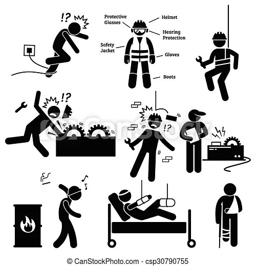 Occupational safety and health work. Human pictogram and