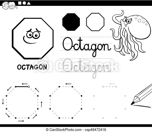 Octagon basic geometric shapes coloring page. Black and