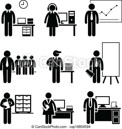 Office jobs occupations careers. A set of pictograms