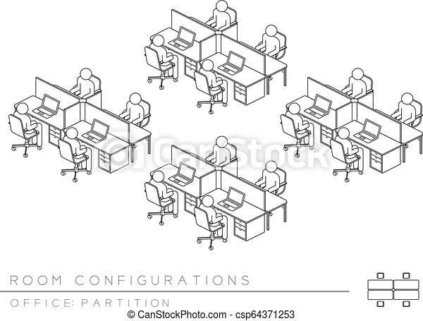 Office room setup layout configuration half partition