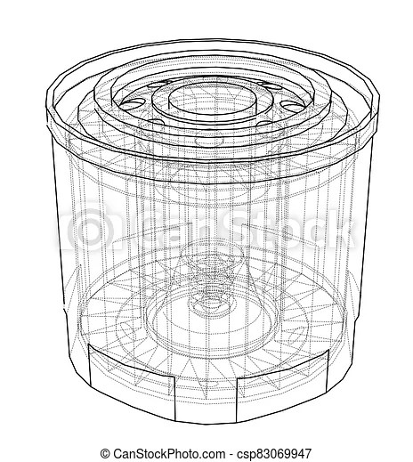 Oil filter concept. 3d illustration. wire-frame style.