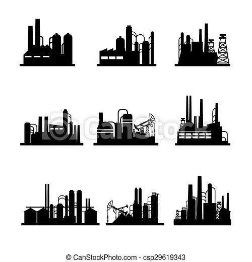 Oil refinery and oil processing plant icons. industrial