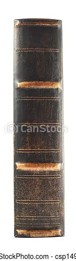 Old book spine isolated. Old dark leather book spine isolated over white background.