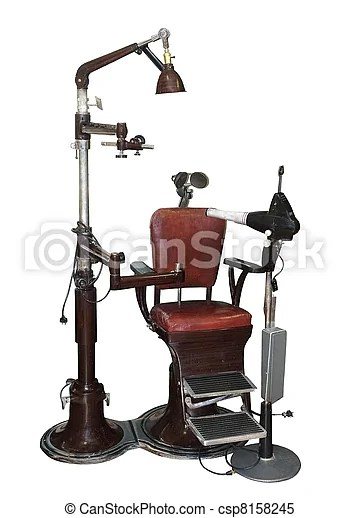 vintage dentist chair full grain leather and ottoman old with equipment on a white background csp8158245