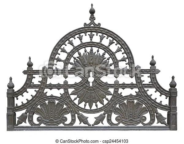 Old forged metallic decorative lattice fence isolated over