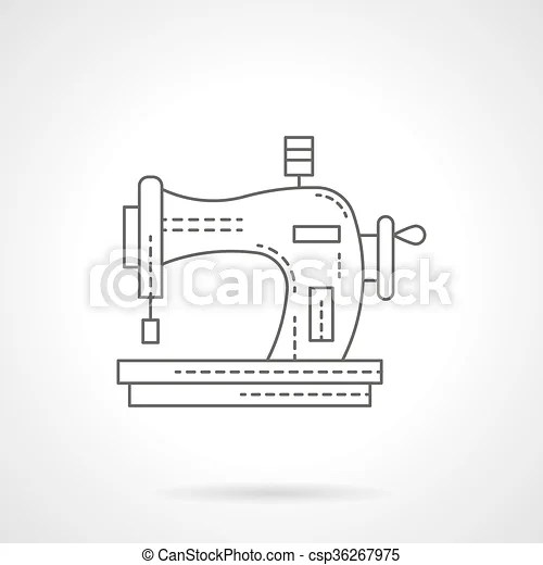 Old manual sewing machine flat line vector icon. Sewing