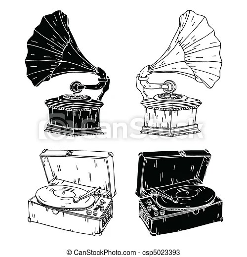 Old record players. Hand drawn vector record players