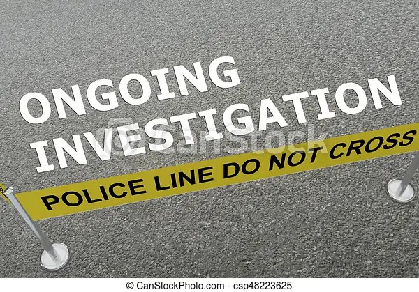 Ongoing investigation concept. 3d illustration of 'ongoing investigation' title on the ground in a police arena.