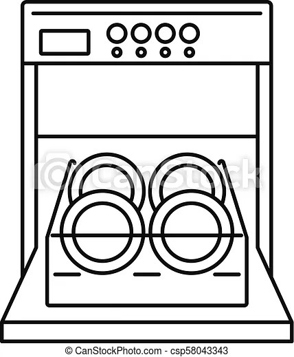 open dishwasher icon outline