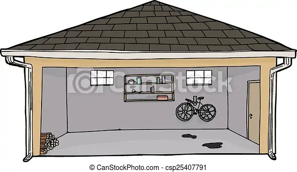 open garage with log pile. hand