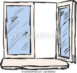 window open cartoon sketch hand drawing drawn drawings vector