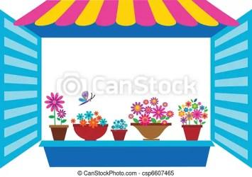 window open flowerpots clipart vector illustration clip canstockphoto