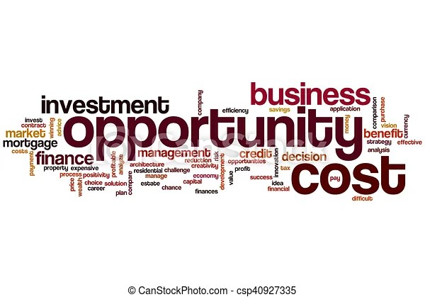 Opportunity cost word cloud concept.