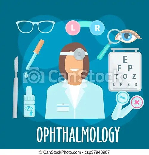 Optometrist profession and eye examination symbol. Smiling young woman ophthalmologist with eye examination equipments and medicines flat icon of ...