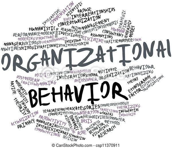 Abstract word cloud for organizational behavior with