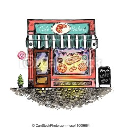cafe bakery sketch outdoor illustration drawing clip vector window print colored clipart bread donut baking drawings line graphics graphic