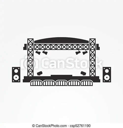 Outdoor stage vector icon. black on a white background.