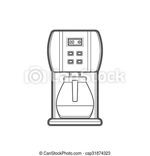 Outline coffee machine illustration . Vector monochrome