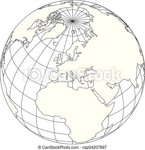 Outline earth globe with map of world focused on europe