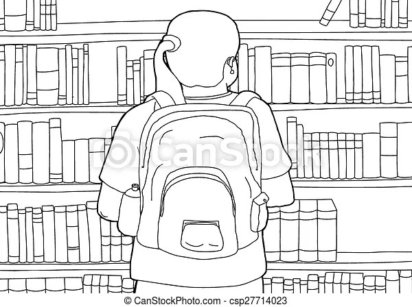 Outline of woman with backpack at library. Cartoon outline